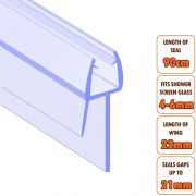 ECOSPA Shower Screen Door Seal (Type 2) • 4-6mm Glass Thickness • Seals Gaps up to 21mm *TWIN PACK